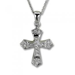 0,23 ct Diamant Kreuz Kette
