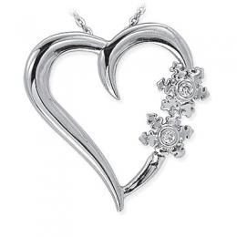 0,04 ct Diamant Herz mit Schneeflocken Kette
