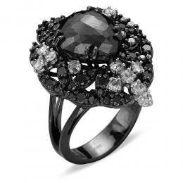 4,34 ct Schwarz Weiß Diamant Ring