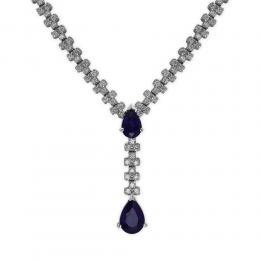 1,51 ct Saphir Diamant Halskette
