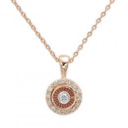 Damenkette 0,10 ct Diamant Kette in 14k Rosegold