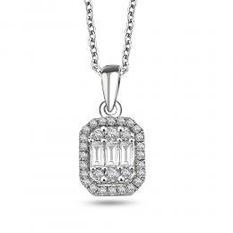 0,15 ct Diamant Baguette Halskette