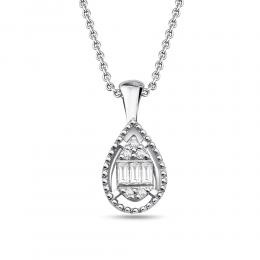 0,06 ct Diamant Baguette-Schliff Kette