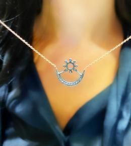 0,07 ct Diamant Adinkra Liebe Kette