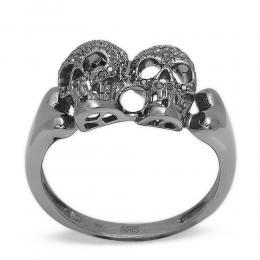 0,28 ct Schwarz Weiß Diamant Schädel Ring