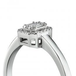 0,12 ct Diamant Baguette Ring