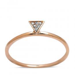 Trend Ring Dreieck aus 14 Karat (585) Rot Gold mit 0.02 ct Diamant