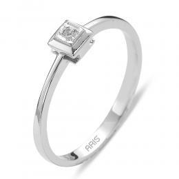 Verlobungsring Solitärring aus 14 Karat (585) Weißgold mit 0.01 ct Diamant