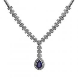 0,61 ct Saphir Diamant Halskette