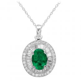 0,83 ct Smaragd Diamant Baguette-Schliff Kette