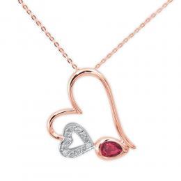 0,18 ct Rubin Diamant Herz Kette