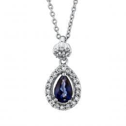 0,42 ct Saphir Diamant Kette