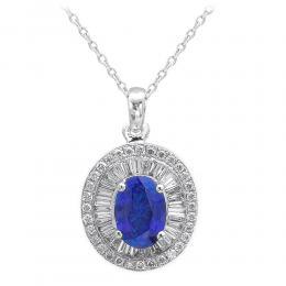 0,79 ct Saphir Diamant Kette