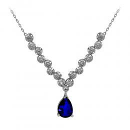 Diamant Farbedelstein Halskette