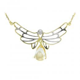 1,25 ct Weiβ Saphir Diamant Engelflügel Kette