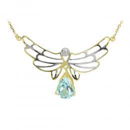 1,55 ct Blautopas Diamant Engelflügel Kette