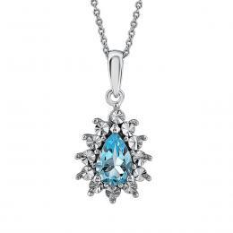 0,45 ct Blautopas Diamant Halskette