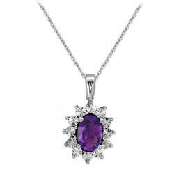 0,36 ct Amethyst Diamant Halskette