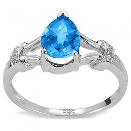 1,58 ct Blautopas Diamant Ring