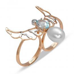 1,40 ct Blautopas Diamant Ring