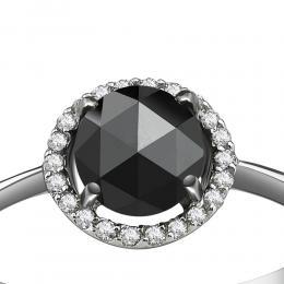 0,79 ct Schwarz Weiß Diamant Ring