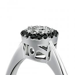 0,17 ct Schwarz Weiß Diamant Ring