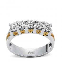 0,90 Ct.  Weissgold Diamant Ring mit 5 Steinen