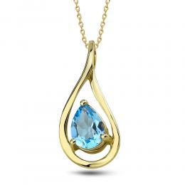 585er Gelbgold Blautopas Halskette