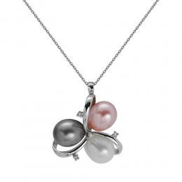 0,04 ct Diamant Perlen Kette
