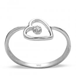 0,01 ct Diamant Herz Ring