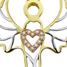 0,03 ct Diamant Erzengel der Liebe Gabriel Kette