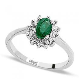 0,38 ct Smaragd Diamant Ring