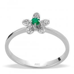 0,06 ct Smaragd Diamant Ring