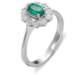 0,41 ct Smaragd Diamant Ring