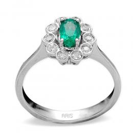 0,41 ct Smaragd Diamant Ring