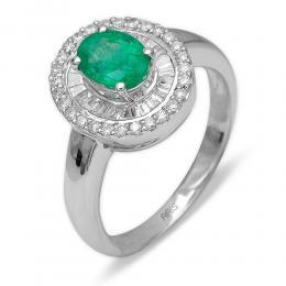 0,75 ct Smaragd Diamant Ring