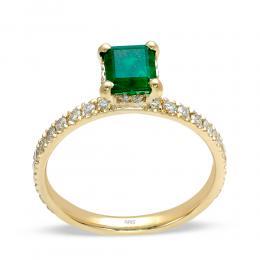 0.85 Smaragd Diamant Ring