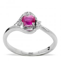 0,42 ct Rubin Diamant Ring