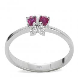 0,14 ct Rubin Diamant Ring