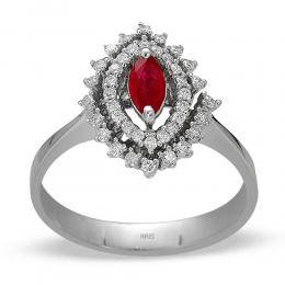 0,33 ct Rubin Diamant Ring