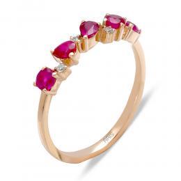 0,72 ct Rubin Diamant Ring
