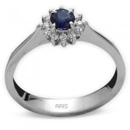 0.64 Ct. Safir Ring mit Diamantbesetzung