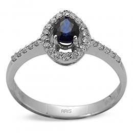0,54 ct Saphir Diamant Ring
