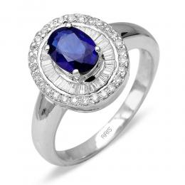 0,86 ct Saphir Diamant Ring