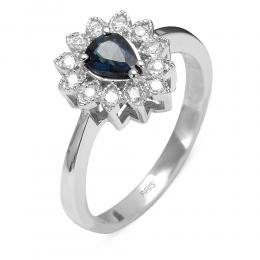 0,57 ct Saphir Diamant Ring