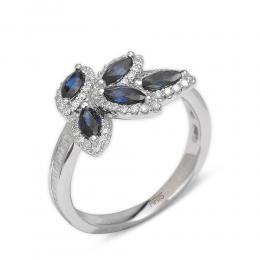 0,83 ct Saphir Diamant Ring