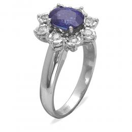 1,70 ct Saphir Diamant Ring