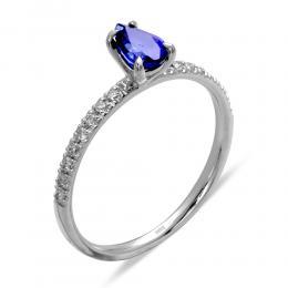 0.10 Ct. Saphir Ring mit Diamant besetzter Schiene