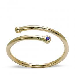 Damen Minimal Trend Ring aus 585 Gelb Gold mit 0.03 ct Saphir