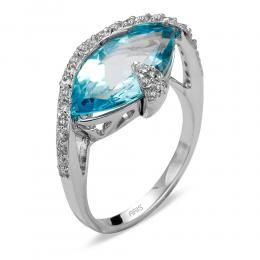 4,55 ct Blautopas Diamant Ring